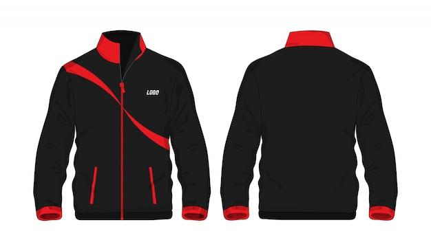 Sportjasje rood en zwart sjabloonoverhemd voor ontwerp op witte achtergrond.