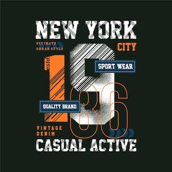 Sportkleding new york abstracte grafische typografie casual actief ontwerp illustratie