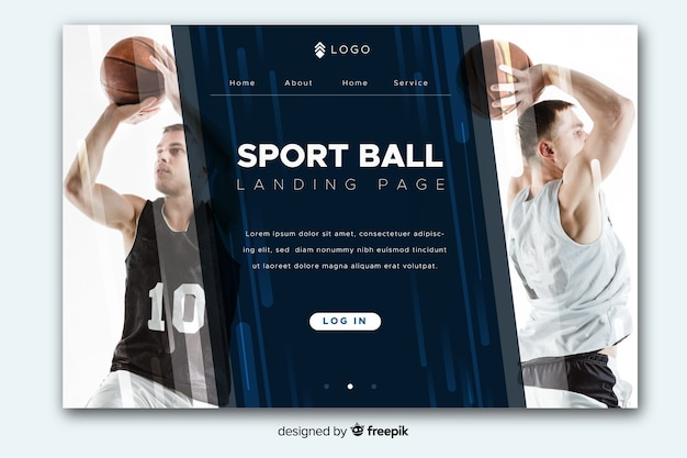 Sportlandingspagina met foto en diagonale kopie-ruimte