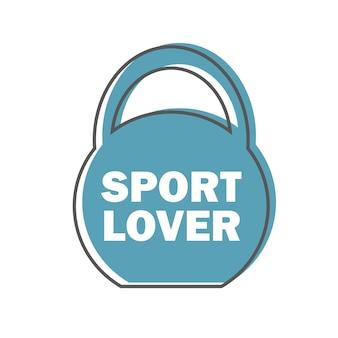 Sportliefhebber - gym workout motivatie citaat stempel of logo vector design element in lijnstijl