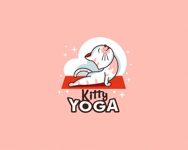 Sportlogo en embleem. kitty yoga-badge, sticker, label