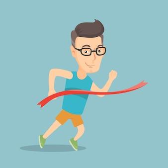 Sportman die de finishlijn overschrijdt.