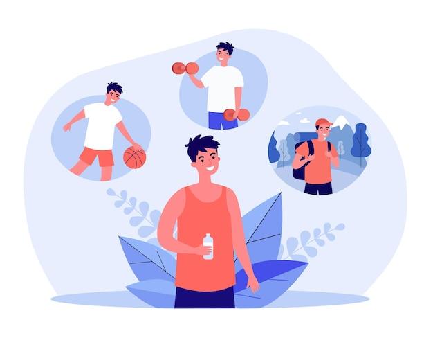 Sportman die een fles water vasthoudt en aan sport denkt. man droomt van volleyballen, dumbbells optillen, gaan kamperen platte vectorillustratie. fitness, gezond levensstijlconcept