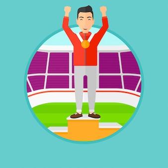 Sportman die op het winnaarspodium vieren.