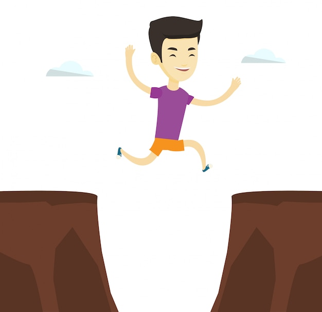 Sportman die over klippenillustratie springt.