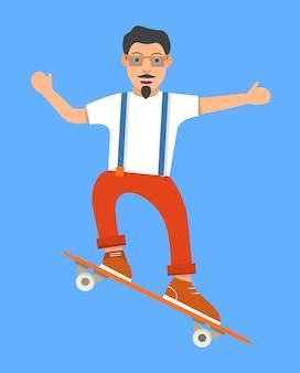 Sportman doet een skateboardtruc.