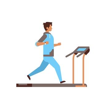 Sportman draait op loopband man cardio-training