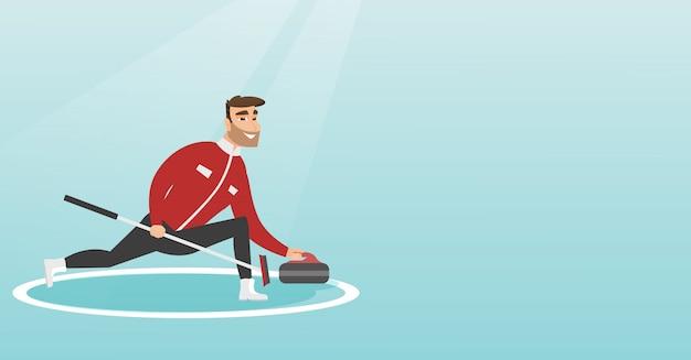 Sportman spelen curling op een ijsbaan