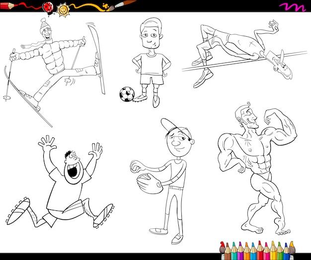 Sportmannen cartoon kleurplaat