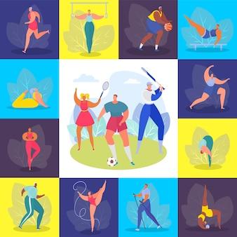Sportmensen, opleiding instellen illustratie. gezonde hobby, beroep en gelukkige levensstijl. atleet man vrouw karakter