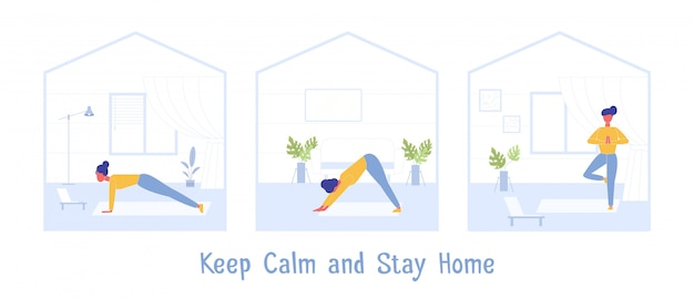 Sportoefening thuis. blijf kalm tijdens quarantaine