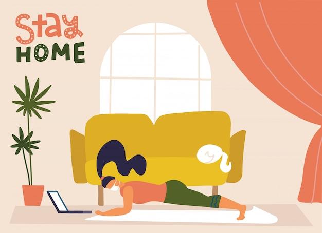 Sportoefening thuis. vrouw in medisch masker die training doen binnen. yoga en fitness, gezonde levensstijl. quarantaine, thuis blijven, webbanner, poster. stop covid-19. vlakke afbeelding