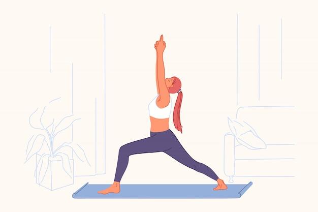 Sportoefeningen, yogapraktijk, actief levensstijlconcept