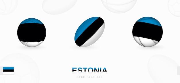 Sportpictogrammen voor voetbal, rugby en basketbal met de vlag van estland.