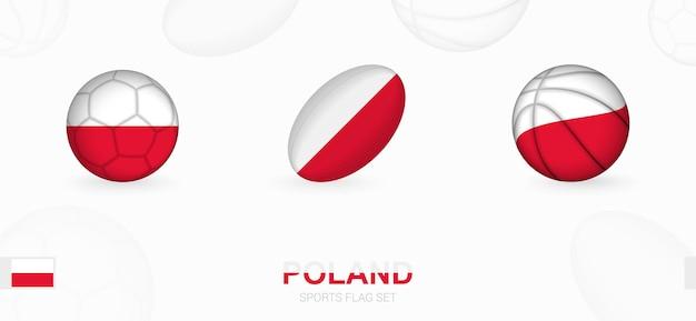 Sportpictogrammen voor voetbal, rugby en basketbal met de vlag van polen.