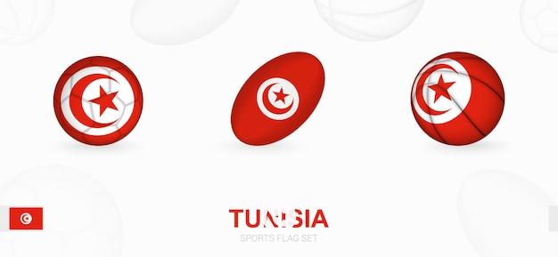 Sportpictogrammen voor voetbal, rugby en basketbal met de vlag van tunesië.