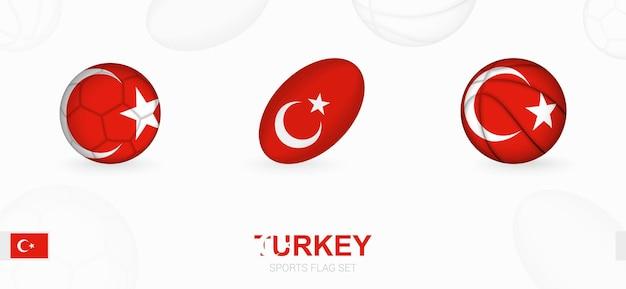 Sportpictogrammen voor voetbal, rugby en basketbal met de vlag van turkije.