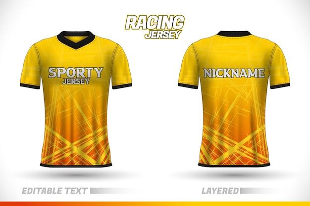 Sportrace-jerseyontwerp, t-shirtontwerp vooraan achteraan. sportontwerp voor voetbalraces wielrennen gaming jersey