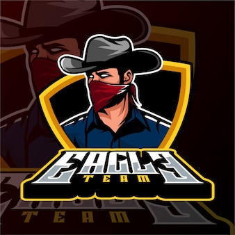 Sports gaming logo cowboy-maffiastijl