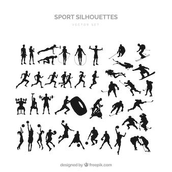 Sports silhouette set