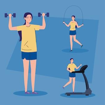 Sportscènes, vrouwen die sport beoefenen, gezonde levensstijl