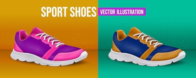 Sportschoenen illustratie. realistische schoenen