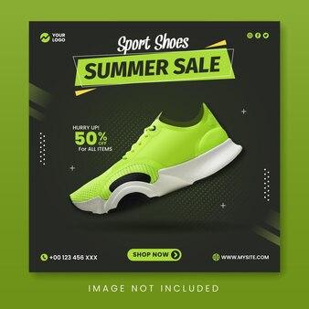 Sportschoenen zomer verkoop social media promotie banner sjabloon