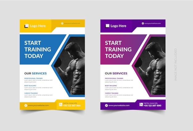 Sportschool en fitness flyer ontwerpsjabloon premium vector