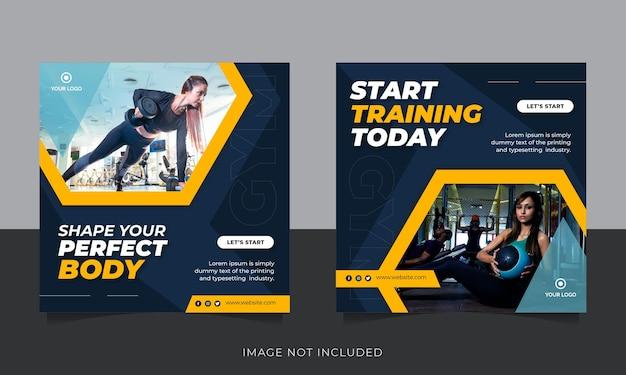 Sportschool en fitness social media post banner