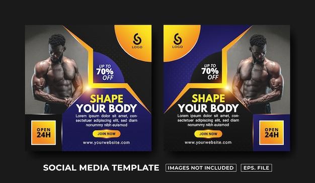 Sportschool en fitness social media postsjabloon premium vector