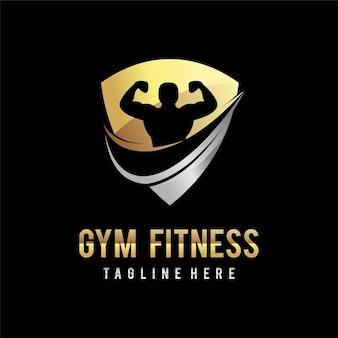 Sportschool fitness logo met schild concept