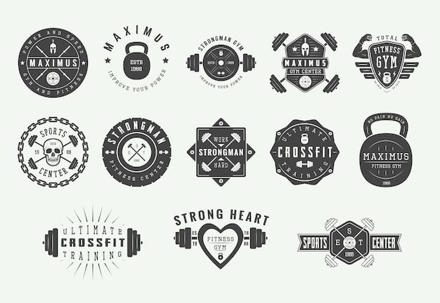 Sportschool fitness logo's, vintage emblemen.