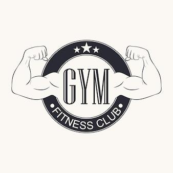 Sportschool. gymnasium embleem. fitnessclub-logo. typografie afbeelding voor t-shirt, ontwerp van sportkleding kleding. bodybuilding-label. vector illustratie.
