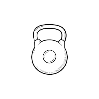 Sportschool kettlebell hand getrokken schets doodle pictogram. gewichtheffen, fitness en fitnessapparatuur, bodybuilding concept