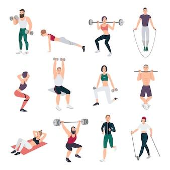 Sportschool mensen ingesteld. jonge man en vrouw die zich bezighouden met sport. verschillende oefeningen collectie in vlakke stijl. vector illustratie.