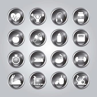 Sportschool pictogram over witte achtergrond vectorillustratie