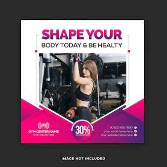 Sportschool sociale media instagram post en fitness webbannerontwerp
