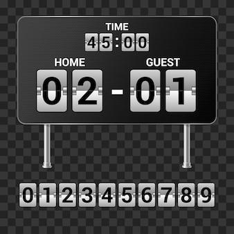 Sportscorebord - reeks realistische geïsoleerde vectorvoorwerpen op transparante achtergrond met tijd, score van het spel en aantallen. clip-art van hoge kwaliteit voor presentaties, banners, posters