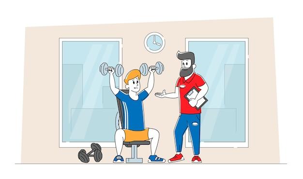 Sportsman powerlifter training in gym met coach help
