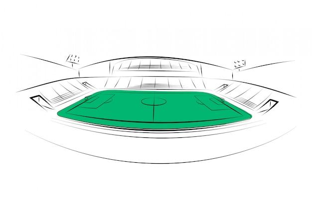 Sportstadion op witte achtergrond. hand getekend. vector illustratie