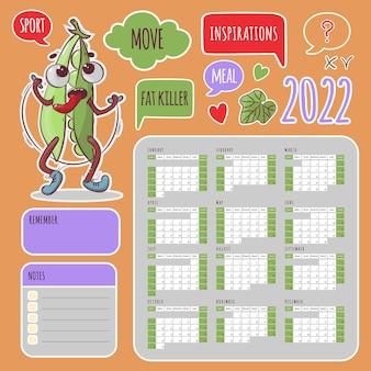 Sportstickers kalender 2022 jaarschema en collectie jumping peas
