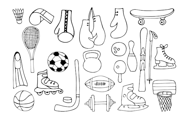 Sportuitrusting doodle iconen collectie. hand getrokken sportuitrusting iconen collectie.