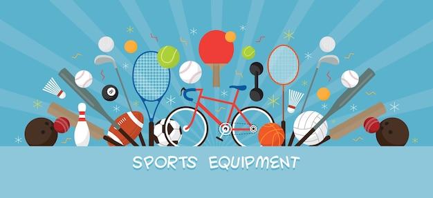 Sportuitrusting, platte objecten banner weergeven