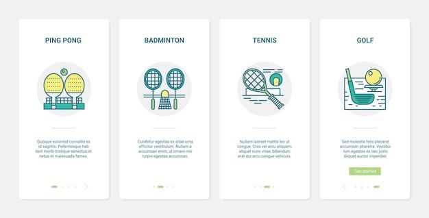 Sportuitrusting. ux, ui onboarding mobiele app set golfclub en bal, rackets voor tennisbadmintontoernooikampioenschap, tafeltennistafel sportgamesymbolen