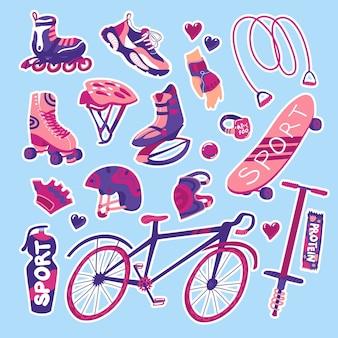 Sportuitrusting voor de zomer geïsoleerde elementen op blauwe achtergrond vectorillustratie stickers set