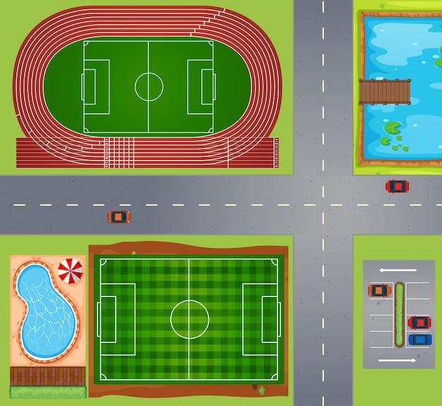 Sportvelden en rechtbanken