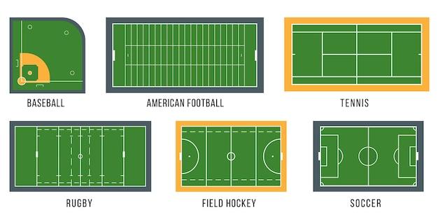Sportvelden geplaatst bovenaanzicht