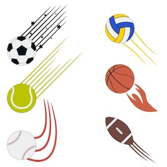 Sportvliegende ballen set met snelheidsbewegingspaden grafisch ontwerp voor atletisch logo