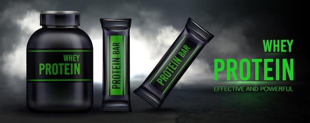 Sportvoeding, proteïne weisaanvulling en repen containerverpakking
