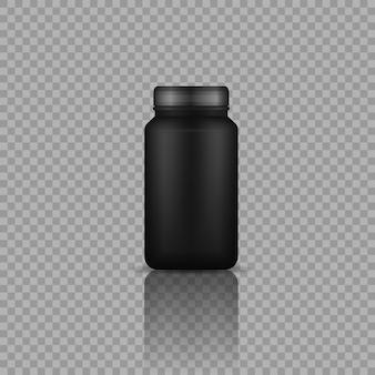 Sportvoeding zwarte containers realistische zwarte plastic fles met eiwitvector
